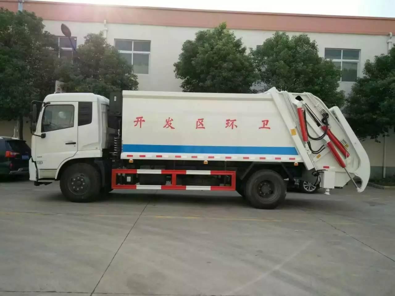 东风天锦压缩带摆臂带挂桶多功能压缩垃圾车图片