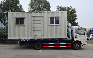 東風多利卡一拖二平板清障車帶移動售貨車