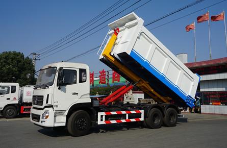 东风天龙25吨勾臂式垃圾车图片