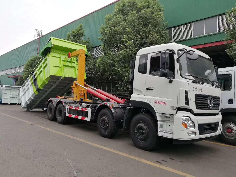 东风天龙30吨勾臂垃圾车图片