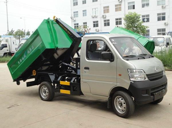 長安3方勾臂垃圾車(長安3方車廂可卸式垃圾車)_高清圖片