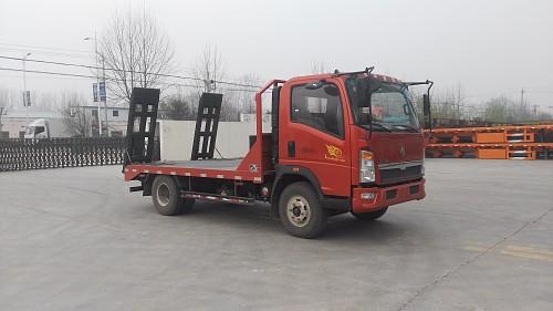 重汽豪沃平板运输车/重汽蓝牌平板挖机拖车/小型挖机板车