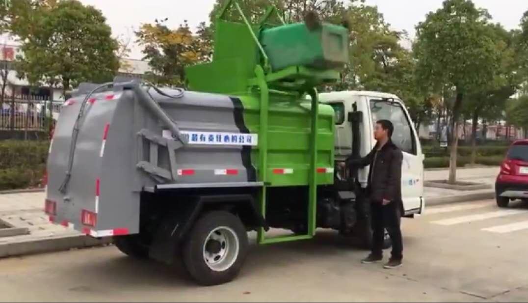 5方挂桶垃圾车操作操作视频