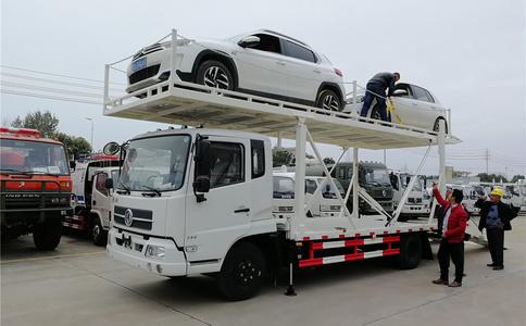 东风天锦一拖三车辆运输车_多功能车辆运输车视频