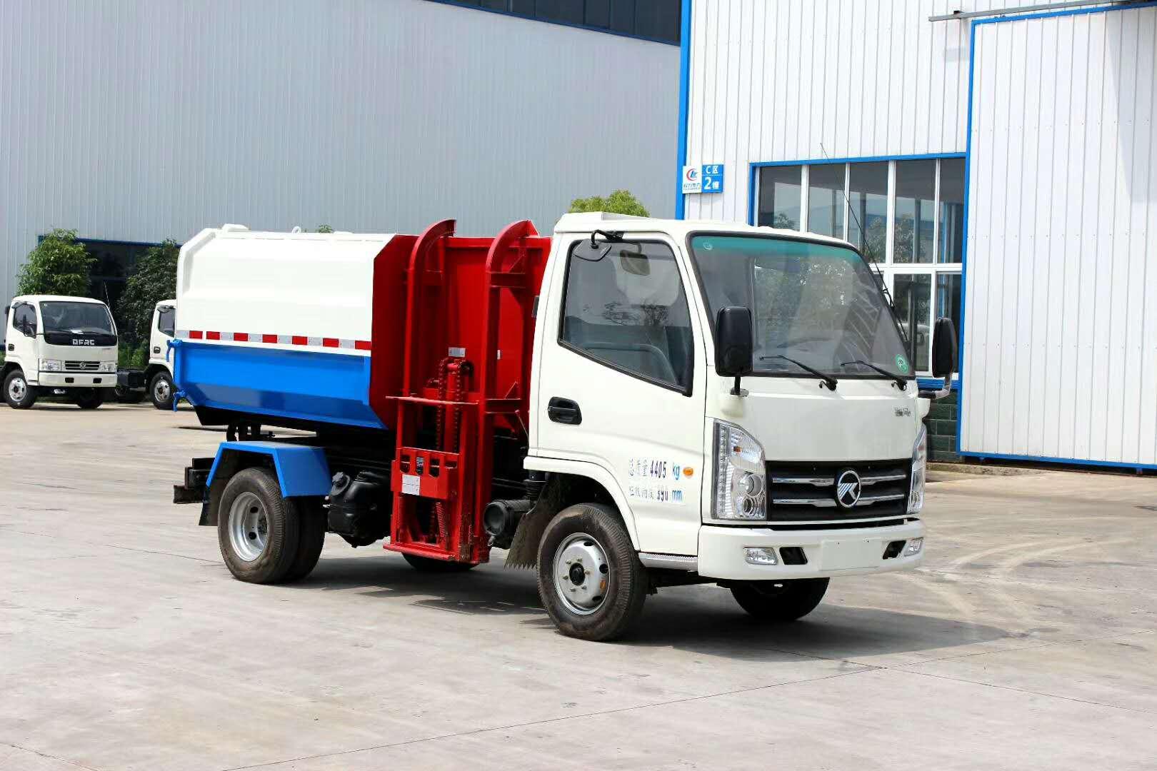 凯马挂桶垃圾车,市场最便宜的国五5方挂桶垃圾车