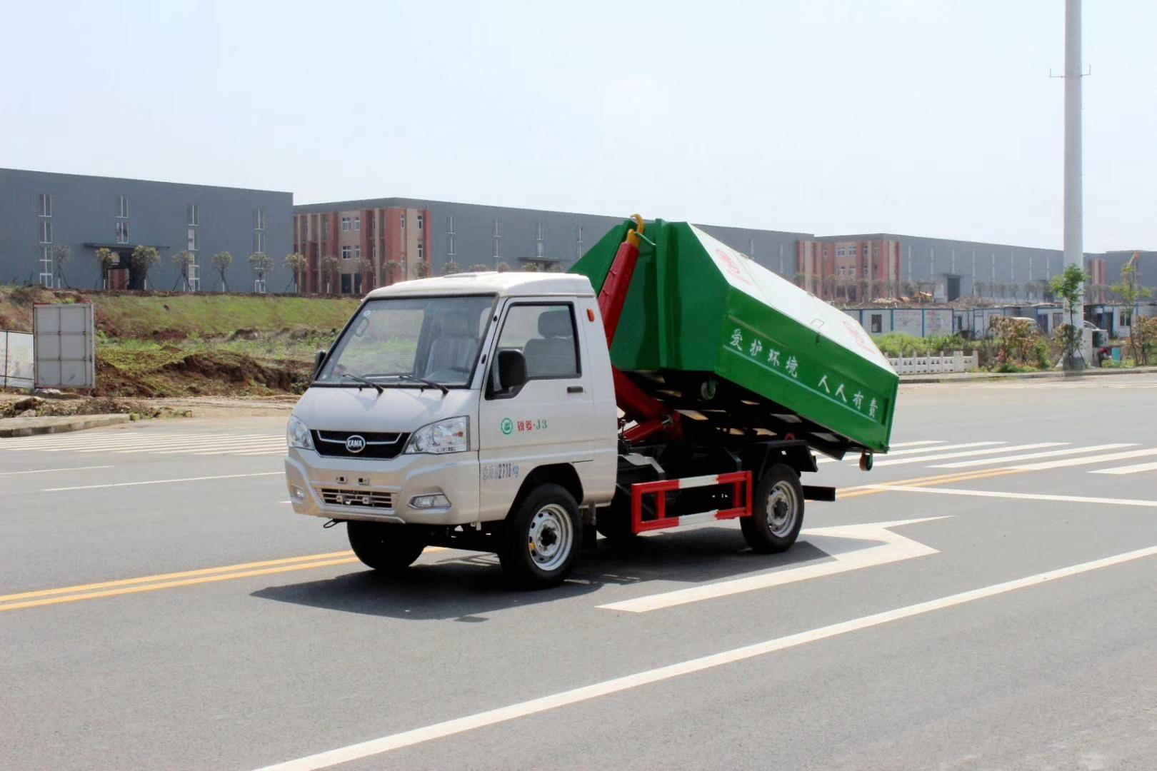 凯马2560轴距汽油后单轮勾臂垃圾车图片