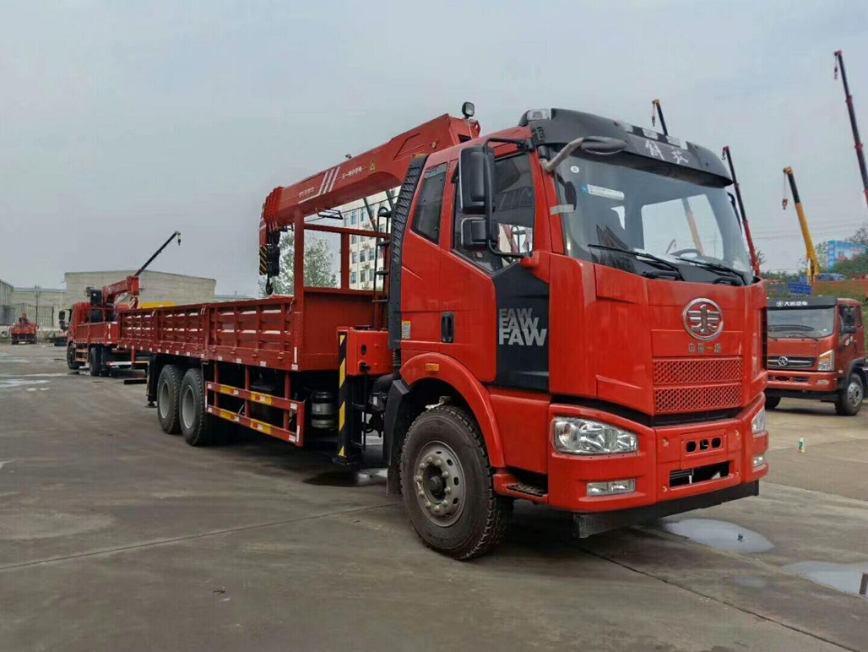 (8-12吨吊机)解放J6后双桥随车起重运输车