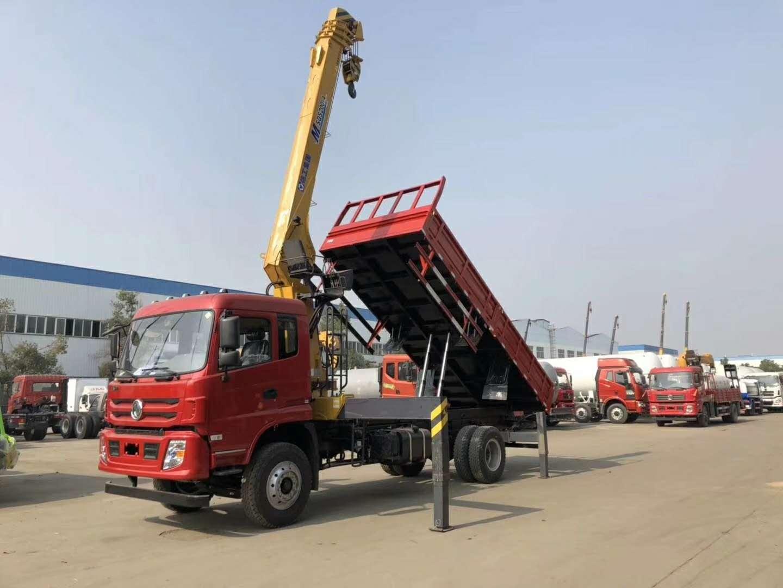 东风单桥随车吊8吨徐工随车吊双联泵吊机带自卸功能图片
