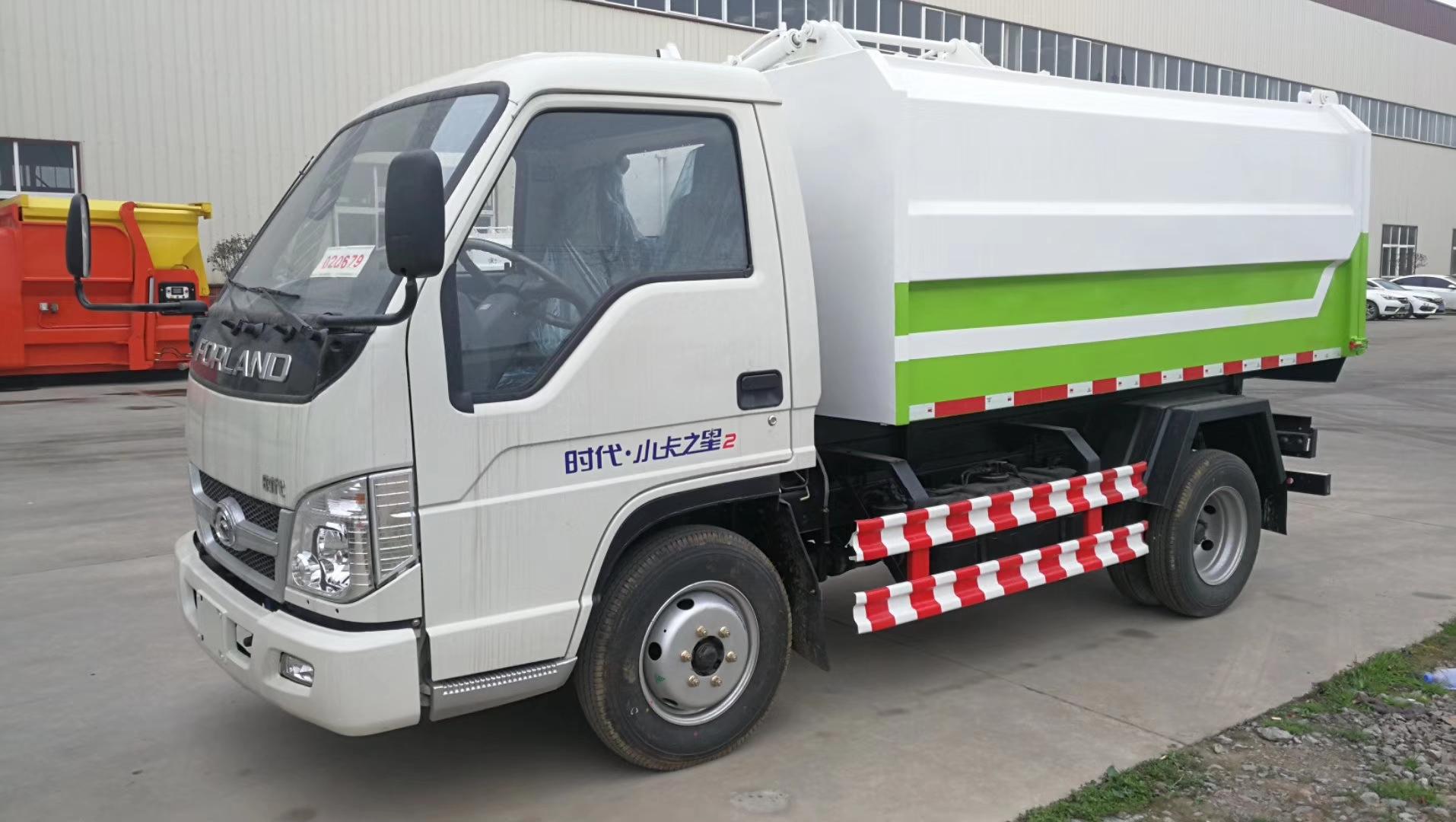 福田小卡3吨挂桶垃圾车图片