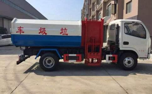 东风挂桶垃圾车操作/自卸式垃圾车/视频
