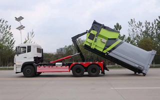 勾臂垃圾车,车厢可卸式垃圾车,厂家直销价格低好评如潮!图片