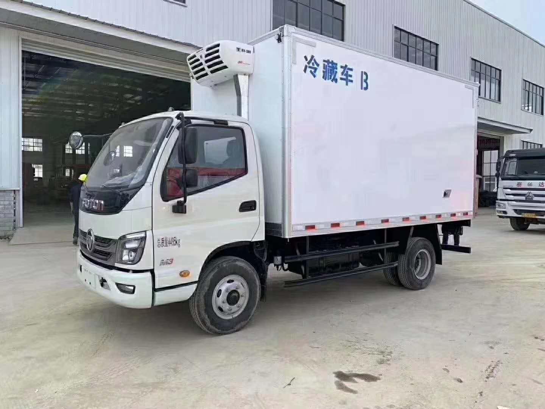 蓝牌福田时代4米厢体肉钩冷藏进口冷藏机组价格