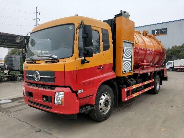 东风天锦带副发动机15吨清洗吸污车厂家价格多少钱图片