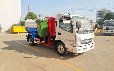凯马自装卸式垃圾车,5方挂桶式垃圾车视频展示图片
