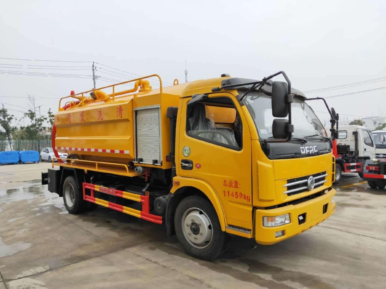 蓝牌清洗吸污车发车了,东风玉柴115马力,天津170/24高压泵,亿丰SK-6水循环泵,100米高压管,罐体带举升。,
