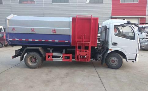 8方挂桶式垃圾车,国五东风多利卡自装卸式垃圾车视频