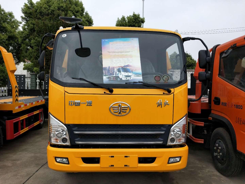 解放虎V蓝牌一体板清障车,客户定制板直接拖4吨多叉车