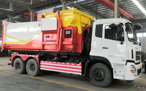 東風天龍后雙橋25噸勾臂垃圾車工作視頻視頻