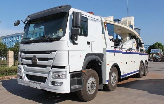 甘肃武威25吨重汽豪沃重型拖车救援车380马力大救援拖车厂家报价