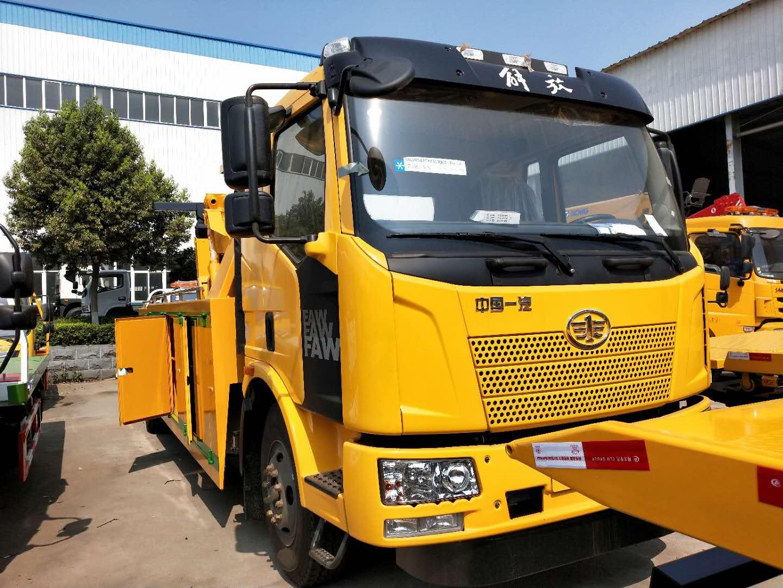12吨解放J6单桥拖车救援车厂家240马力重型拖车图片