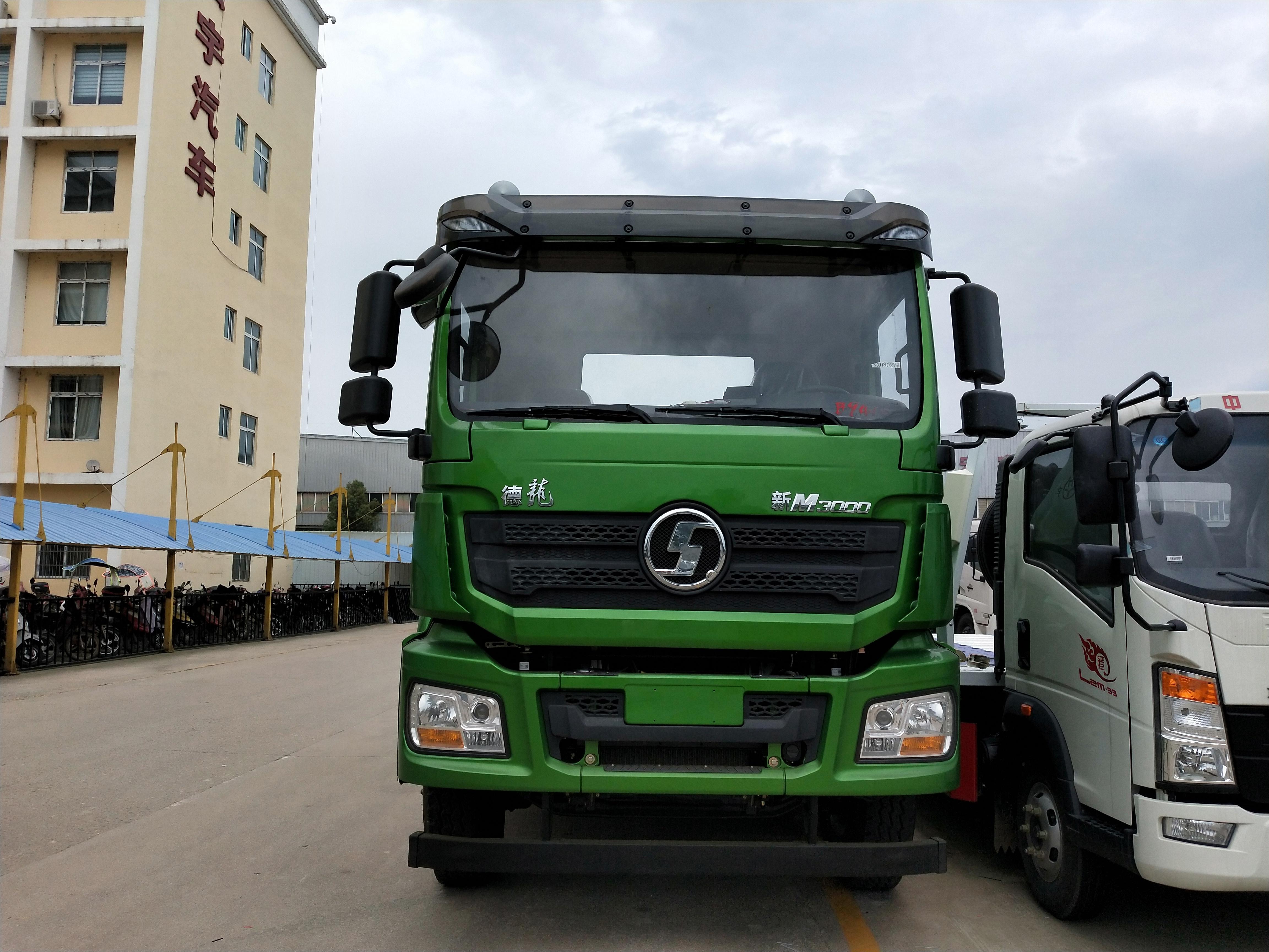 20吨陕汽德龙新M3000后双桥道路拖车救援310马力厂家价格苹果绿图片