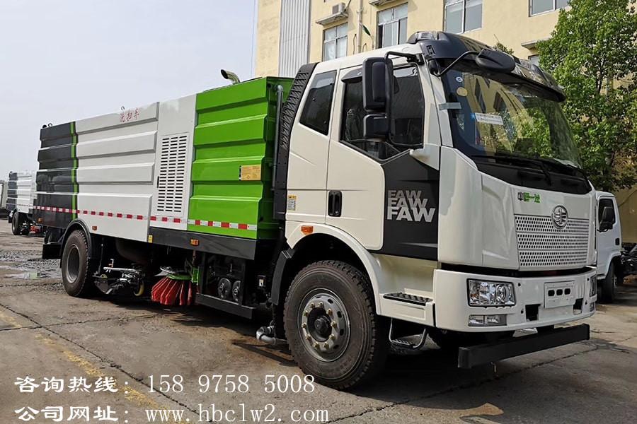 解放J6单桥洗扫车扫路车图片