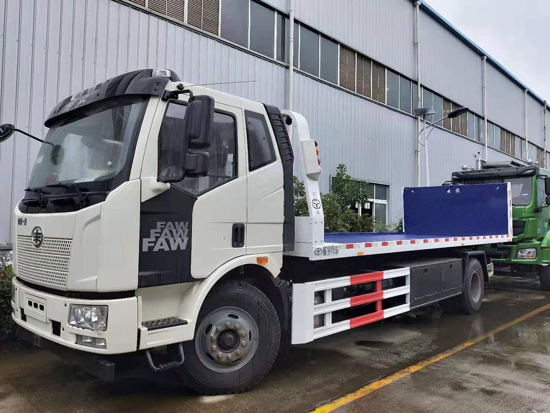 10吨解放大平板拖车救援车厂家220马力和240马力价格图片
