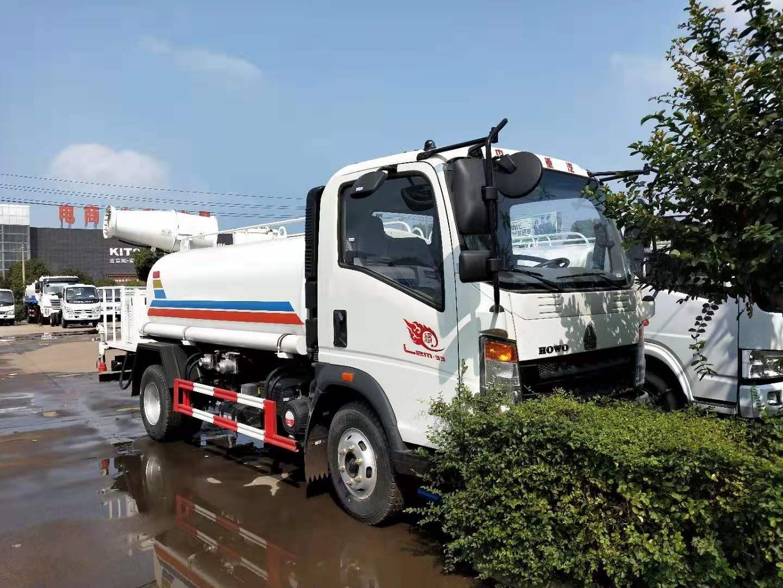 5吨重汽王牌洒水车30米雾炮车选装柴油雾炮机价格