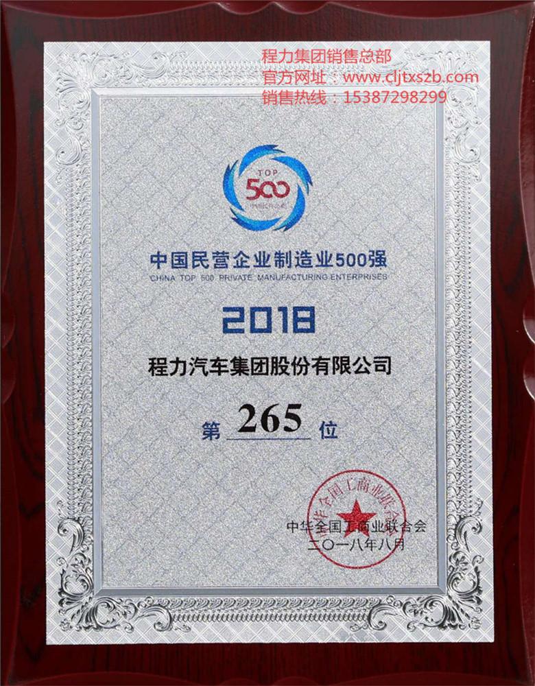 中国民营企业制造业500强2018