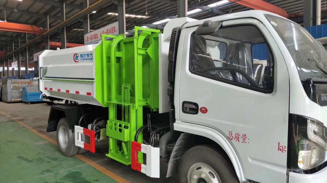 国六东风多利卡5方自装卸式垃圾车
