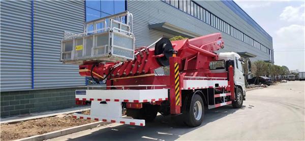 45米載人高空作業車上裝韓國進口,遙控操作收縮自如