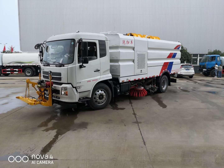 东风天锦国六16吨大型洗扫车现场作业视频