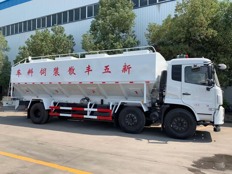 东风天锦小三轴30方15吨散装饲料运输车图片