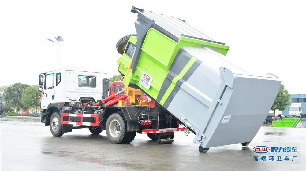 國五D9套臂垃圾車?  一車可配多個垃圾箱?  或者壓縮垃圾站 實現垃圾轉運或者垃圾壓塊清理??  ? 真正做到環保清潔、節能減排