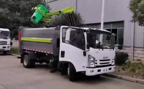 最新机械手挂桶垃圾车操作视频