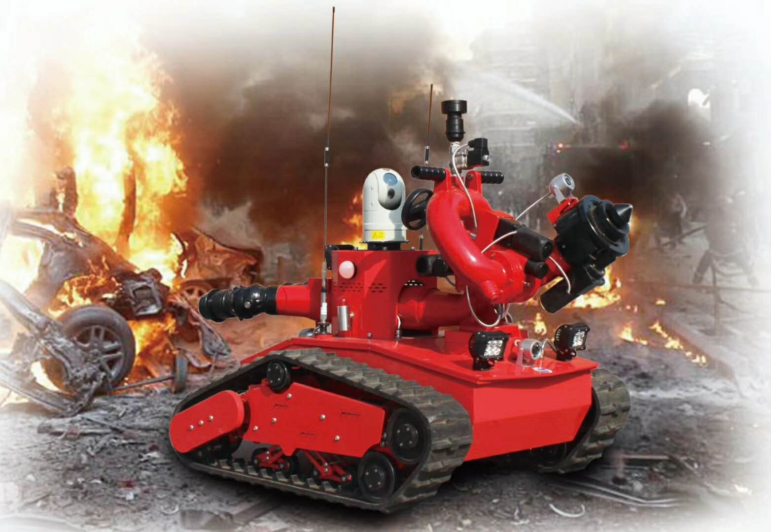 程力公司制造的RXR-M40D的滅火戰車派上用場了,特殊場合需要特殊的消防作戰設備,機器人遙控作業配合消防車可以隨意進入火場完成消防作戰任務!√圖片