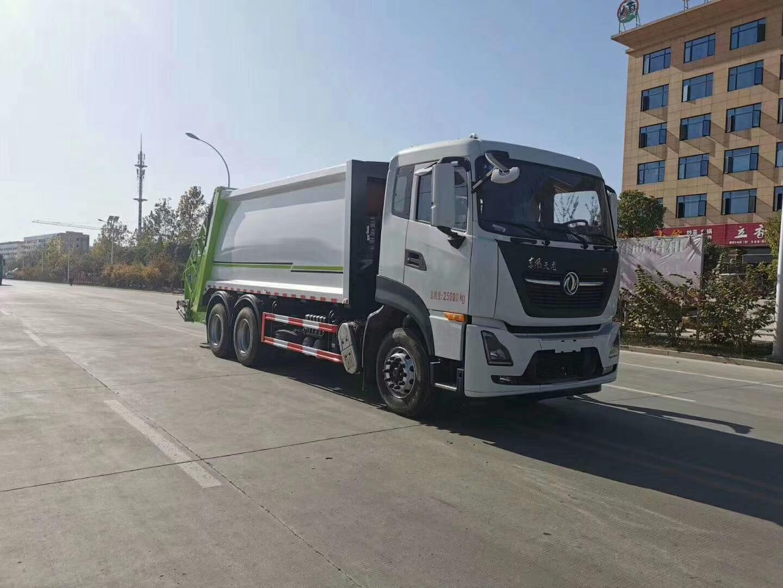国六东风天龙290马力18方压缩垃圾车图片