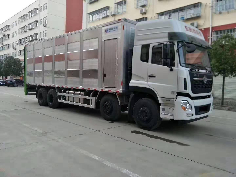东风天龙9米6全铝合金运猪车