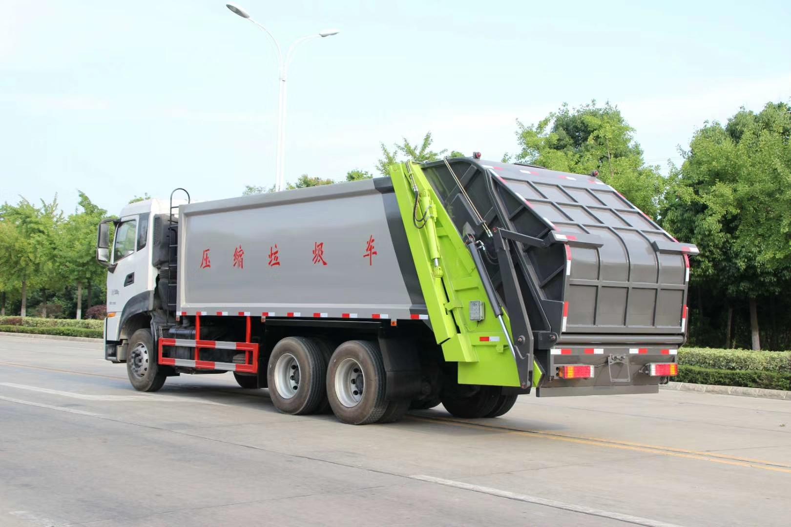 國六天龍后雙橋壓縮垃圾車圖片