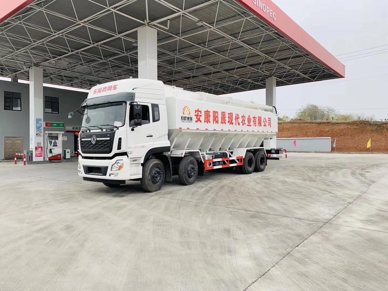 国六东风天龙前四后八40方20吨散装饲料运输车