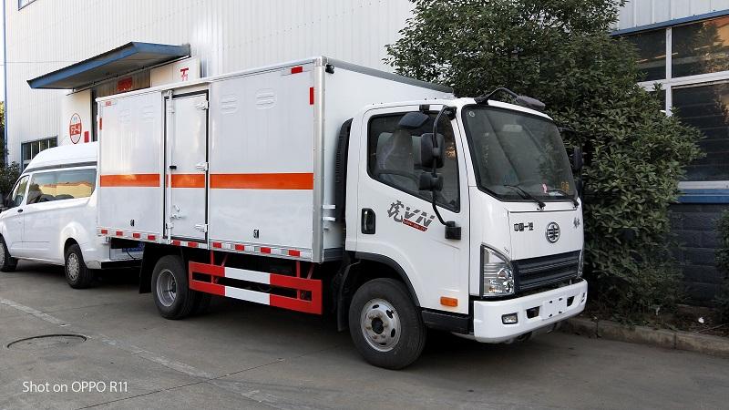 解放虎V蓝牌气瓶运输车又叫2类危险品运输车工厂视频视频