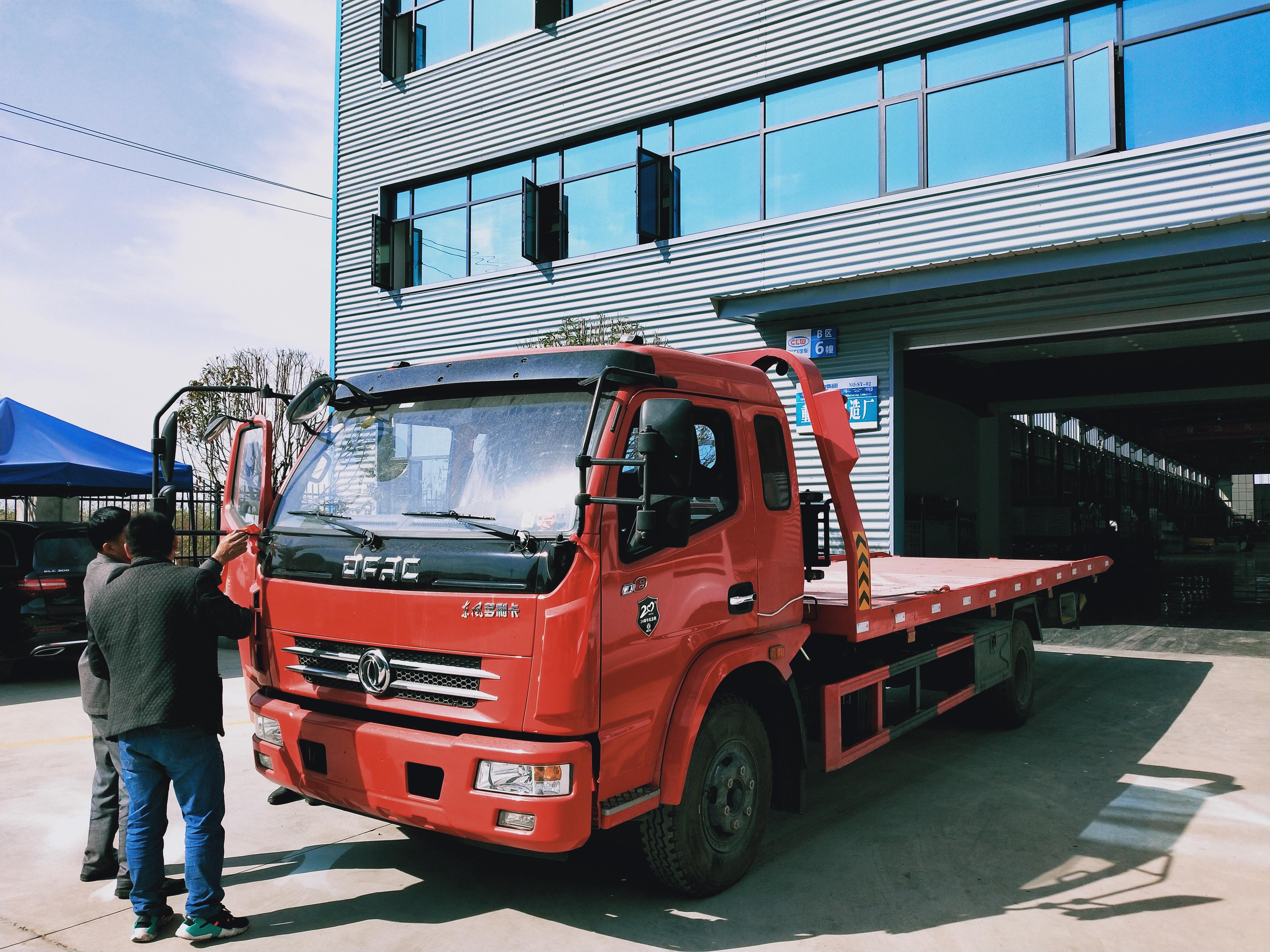 5吨东风多利卡D8平板一拖二道路清障救援拖车