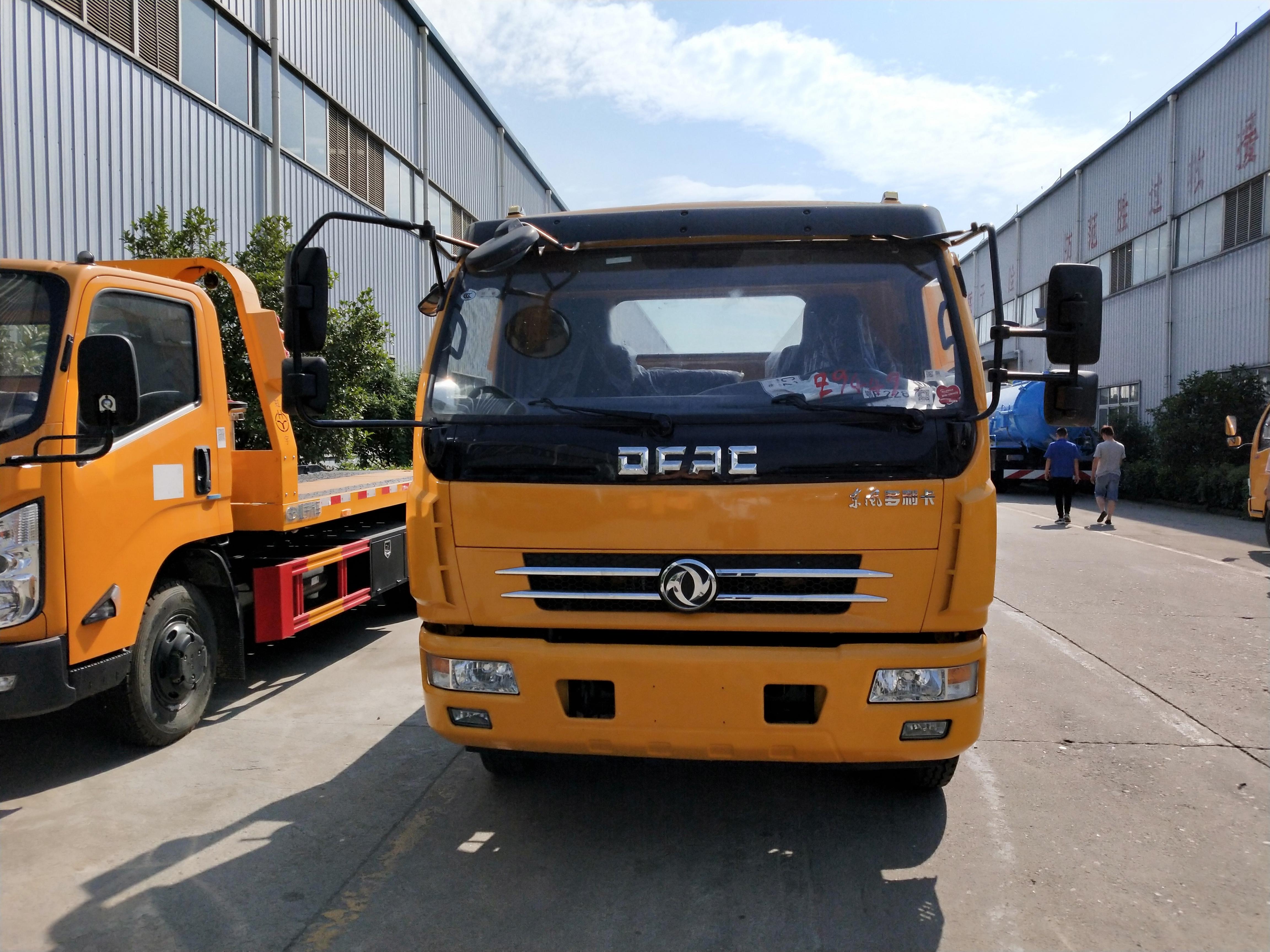 黄牌东风多利卡D8平板一拖二救援拖车可配6吨绞盘