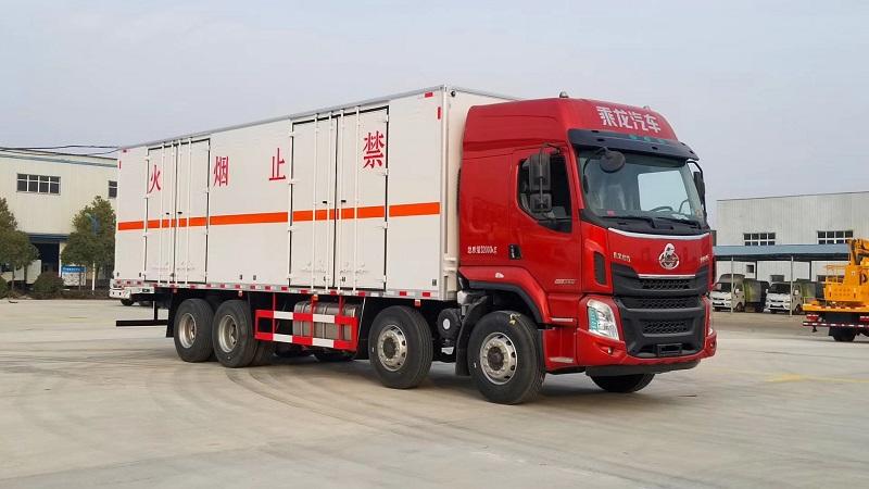 氣囊橋 東風柳汽9.4米危險品廂式運輸車 總質量32噸 視頻視頻
