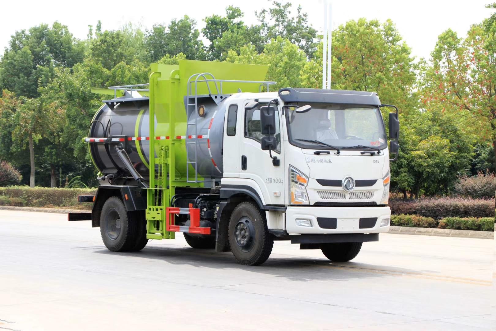 国六东风专底餐厨垃圾车厂家8-9方170马力价格图片