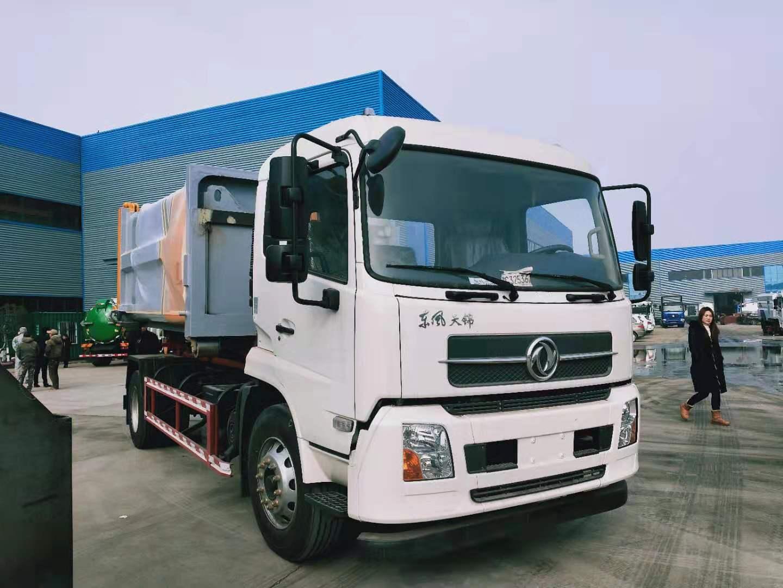 16T东风天锦大勾臂垃圾车厂家配套14立方压缩垃圾箱价格