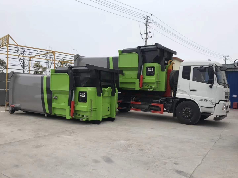 20噸東風天龍后雙橋大鉤臂垃圾車廠家最新圖片和批量價格