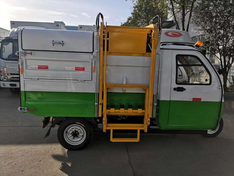 新能源电动全封闭式挂桶垃圾车厂家图片