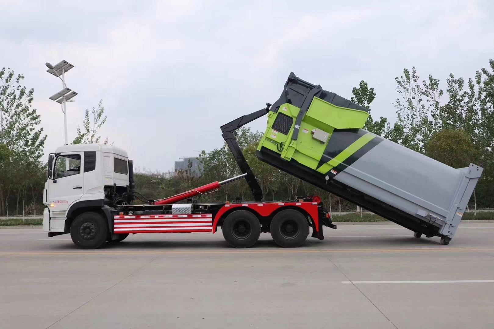 东风天龙270马力勾臂垃圾车图片