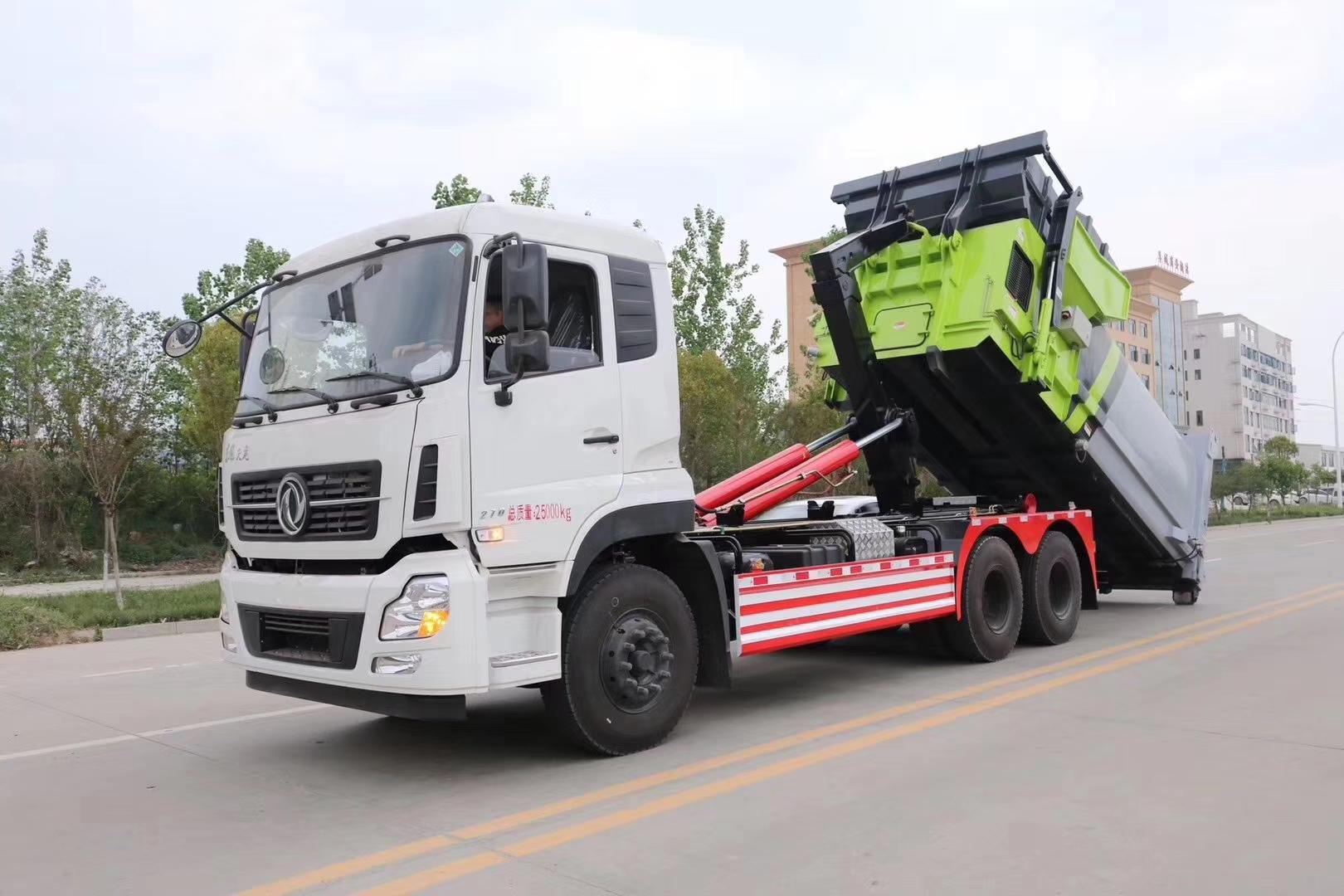 东风天龙康明斯270马力发动机勾臂垃圾车视频